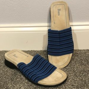 Bass Laila striped slide sandal blue size 9.5